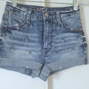 Wallflower High Waist Cuffed Jean Shorts